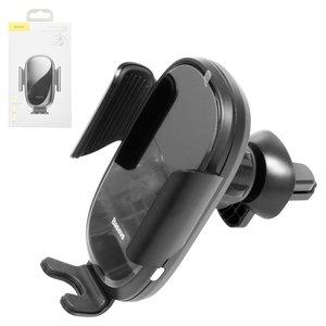 Автомобільний тримач Baseus, чорний, на дефлектор, автоматичний затискний механізм, з micro USB кабелем тип В, #SUGENT ZN01