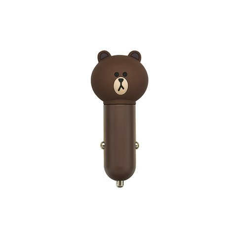 USB Car Charging Device Line Friends – Brown