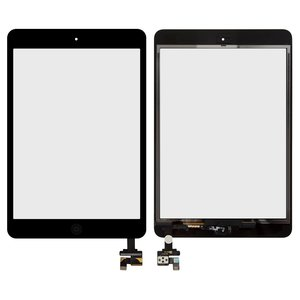 Touchscreen for Apple iPad Mini, iPad Mini 2 Retina Tablets, (with IC, with HOME button, black)